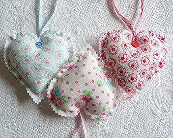Shabby Chic Floral Hanging Heart Ornament Fabric Hearts Pink Rose and Cherry europeanstreetteam