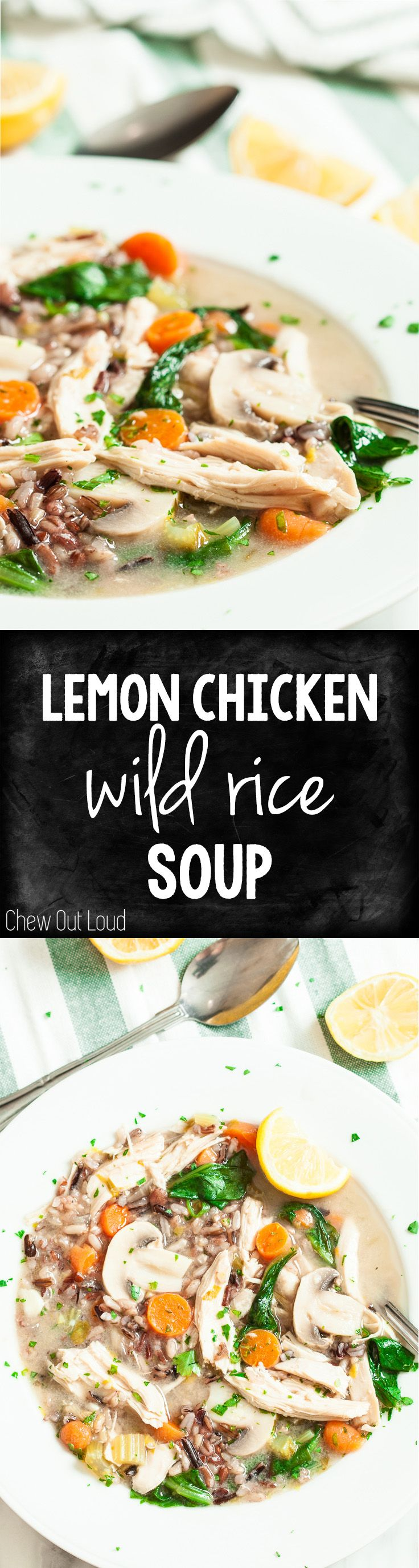 Lemon Chicken Wild Rice Soup. Perfect transition from winter to spring. Healthy, comforting, and SO GOOD. #soup #lemon #gf