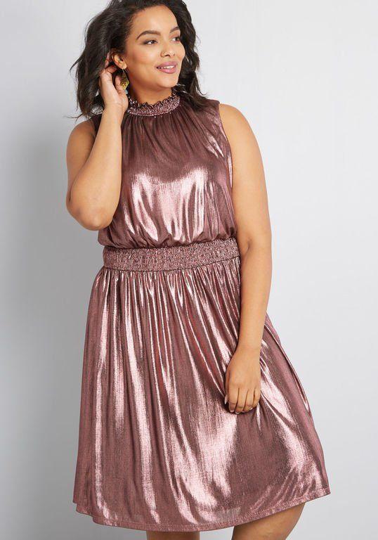 f56f192fef2 Plus Size A-Line Dress in Metallic Pink  plussize