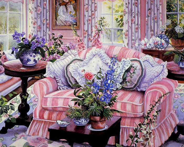 Romantic Garden Cottage - Susan Rios Heartwarming Paintings - Coming Home - Susan Rios Paintings of Sweet Romantic Liliving Room 1