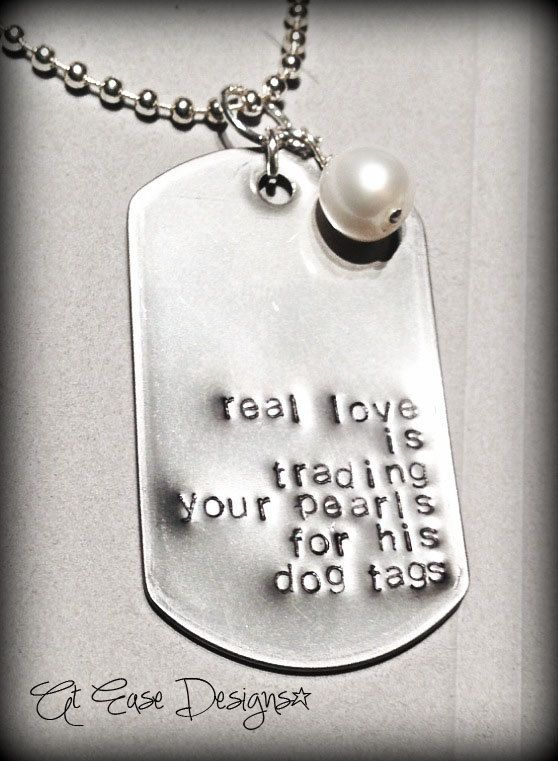 trading pearls for dog tags military sweetie wife by AtEaseDesigns, $25.00