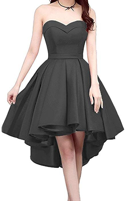 22a9622e313c Yilisa Short Strapless Prom Homecoming Dress Sweetheart High-Low Satin  Party Gown Size 2 Black at Amazon Women's Clothing store: