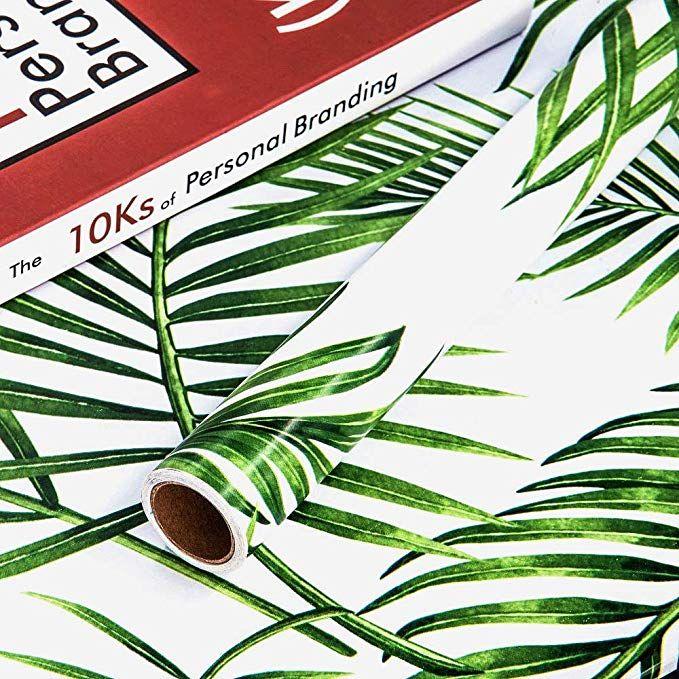 Amazon.com: Palm Leaf Green Wallpaper Self-Adhesive Peel ...