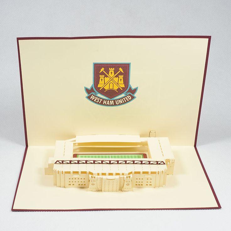 Pop up station card/ST010-Westham United Stadium/Popup handmade station card/Kirigami pop card/ Paper cutting Sport card
