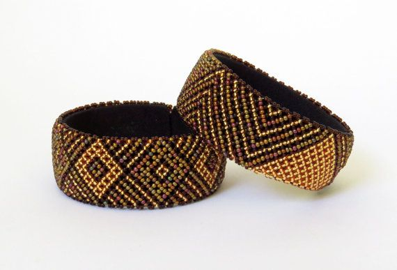 African Zulu beaded large bangle  by GoneRuralSafariCurio on Etsy