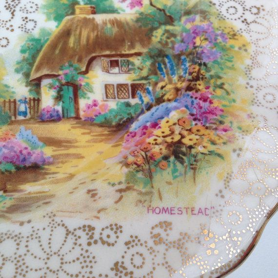 Vintage Cake Plate 'Homestead' by H & K Tunstall by socallrare