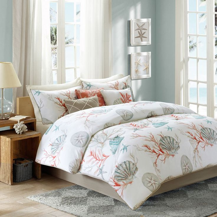 Beach Living Coral, Seashells, Starfish, Beach Queen Comforter Set KO Piece  Bed In A Bag)