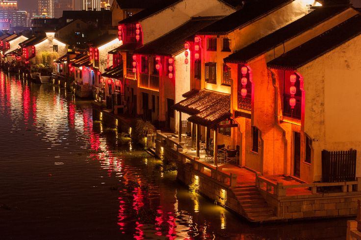 Canals by lantern light, Wuxi, China