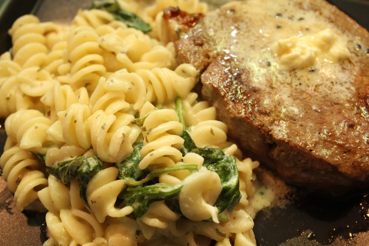 Steak w/ parmesan butter and rigatoni w/ spinach cream sauce