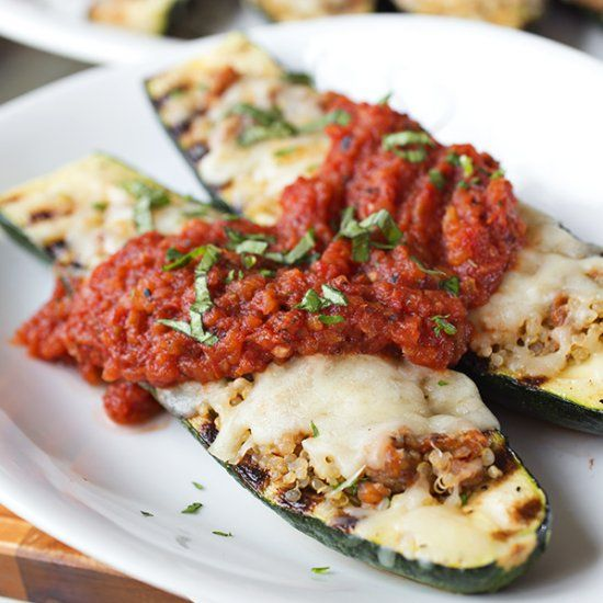 Italian Grilled Zucchini Boats stuffed with Spicy Sausage and Quinoa ...