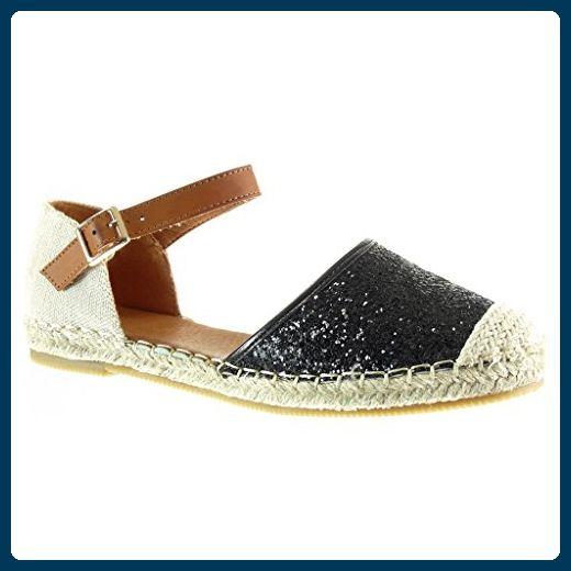 Angkorly - damen Schuhe Espadrilles Sandalen - Mary Jane - Offen - glitzer - Strass - Seil flache Ferse 1 CM - Schwarz W869 T 38 - Espadrilles für frauen (*Partner-Link)