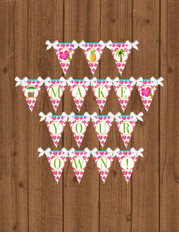 Luau Banner Luau Birthday Party Luau Birthday Banner Girls