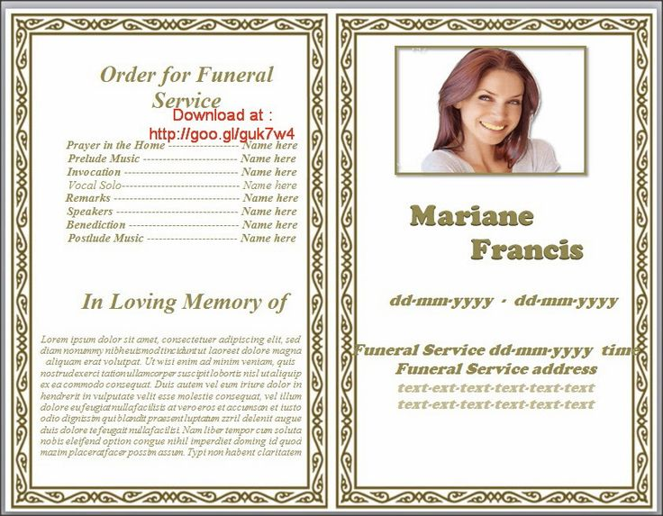 Memorial Pamphlet Template Free] Funeral Program Endearing Template ...