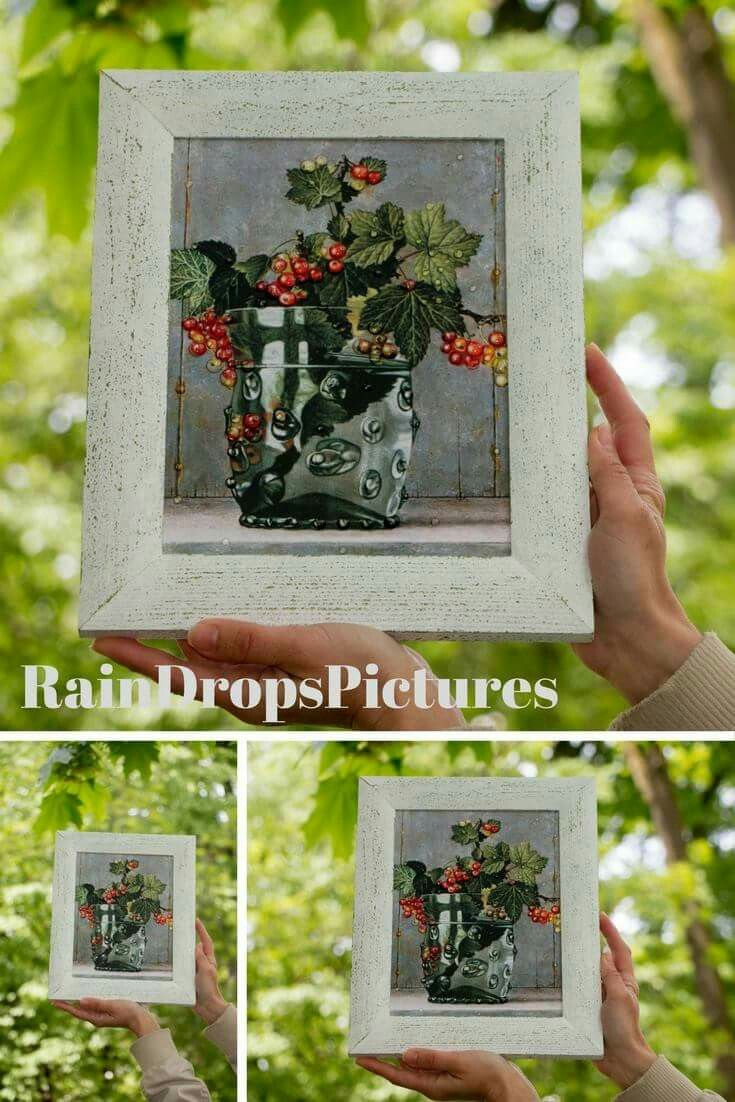 Rustic Home Autumn picture framed Fall Decor 3d effect Decoupage botanical Bouquet berry Vase picture wall art 3D rain drops No glass decor