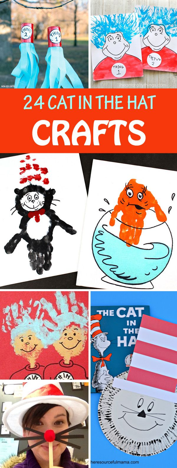Cat in the Hat crafts to celebrate Dr Seuss birthday. Thing 1 and Thing 2 windsocks, handprints, puppets, Cat in the Hat mask, whiskers and more #drseuss #catinthehat #Thing1andThing2