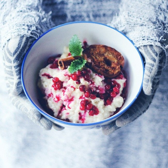 vegan christmas rice porridge with baked pear   jenny mustard
