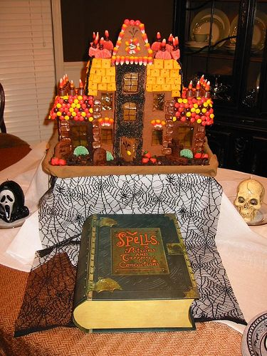 awesome haunted gingerbread house for a halloween party table centerpiece