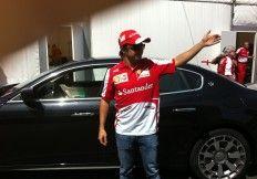 Felipe Massa z Maserati Quattroporte GTS w Warszawie.