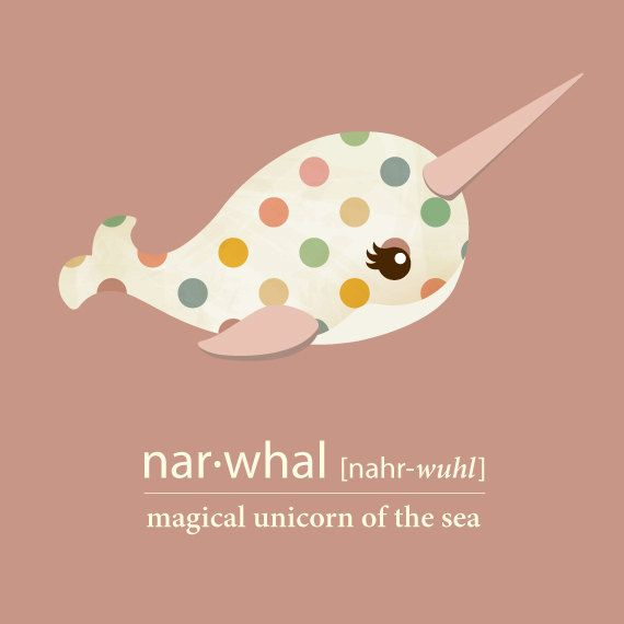 Cute Narwhal - Art Print File - Unicorn of the Sea - Personalized - Nursery - Office - Kids - Eyelashes- Horned Whale - Fun - Vintage Style