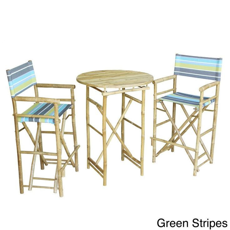 Zew Handcrafted Round Natural Bar Height Pub Set (Green Stripes)