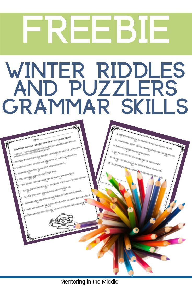 Grammar Riddles for Practice FREEBIE Grammar skills
