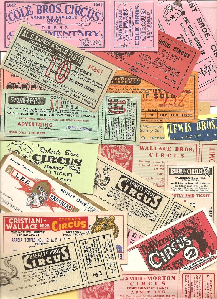 Assorted Circus Tickets