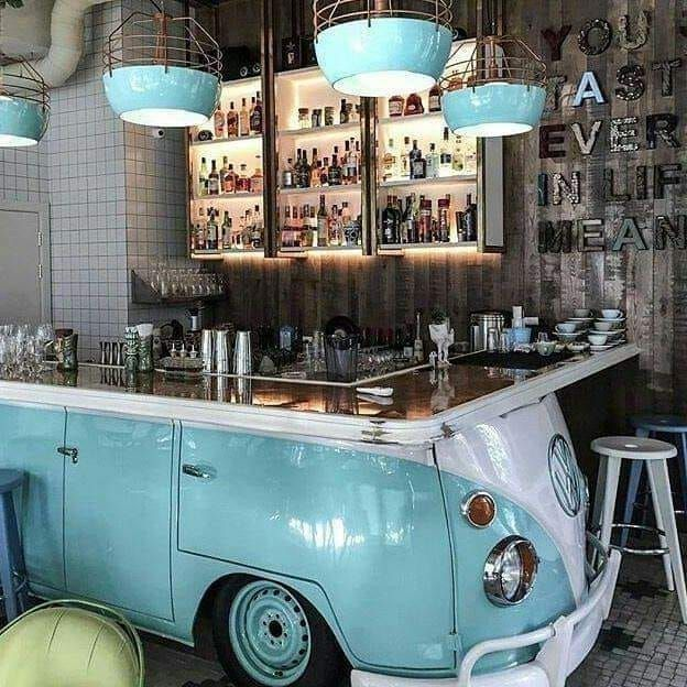 Vw Bar Greenliving Craft Vintage Recycle Repurpose Cafe Interior Design Bar Design Restaurant Coffee Shop Design