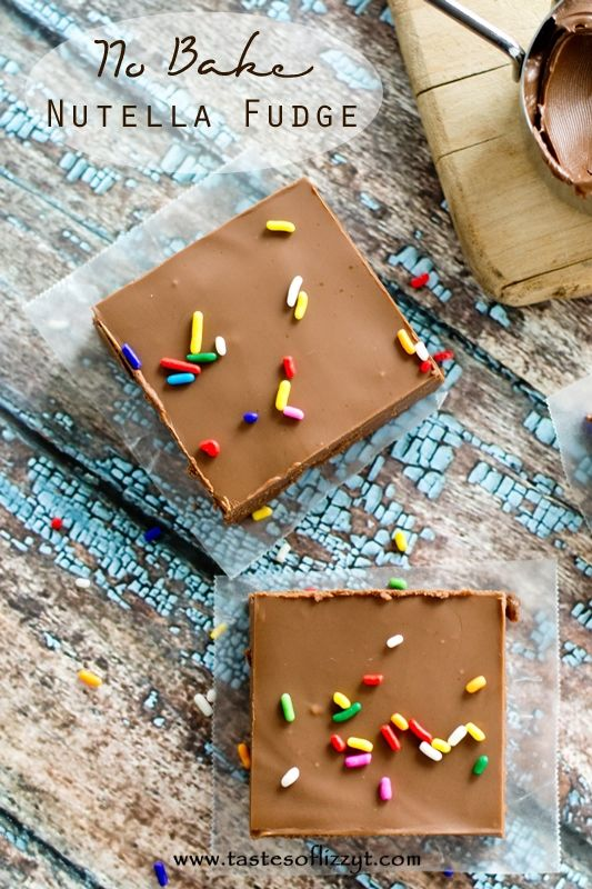 No Bake Nutella Fudge >> by Tastes of Lizzy T's. If you love chocolate, this No Bake Nutella Fudge will be your new best friend. Just 5 ingredients, ready in under 30 minutes, no baking needed.