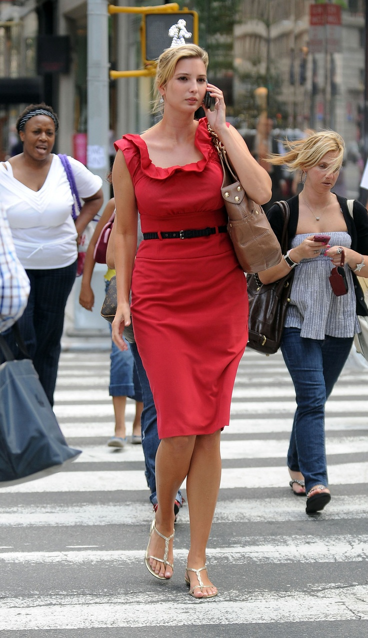 Flats with a knee length shift dress.