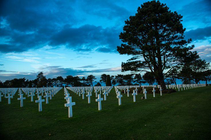 Omaha Beach Normandy Cemetery at Dusk