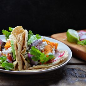 Butternut Squash and Black Bean Tacos With Charred Red Onion and ...
