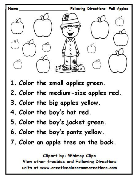 Great Practice In Following Directions And Using Color Words Others Available At Pinterst