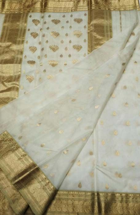 a2941e191075e0 Off_White_Handloom_Chanderi_Pure_Katan_Silk_Saree | chanderi sarees ...