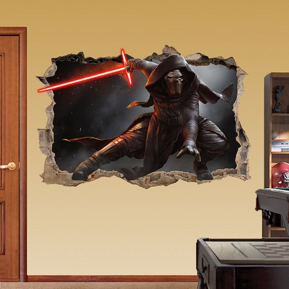 KYLO REN Star Wars Smashed Wall Sticker - 3d Bedroom Boys Girls Wall Art Decor Room Removable hero Broken wall Decal Movie Game Xbox Vinyl