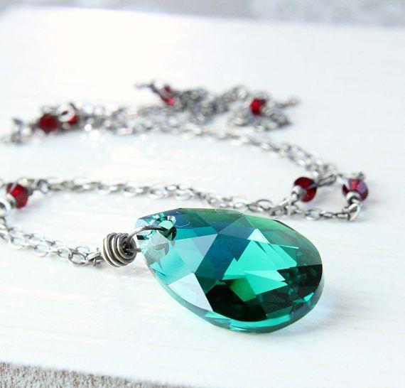 Swarovski Drop Necklace Sterling Silver Austrian Crystal
