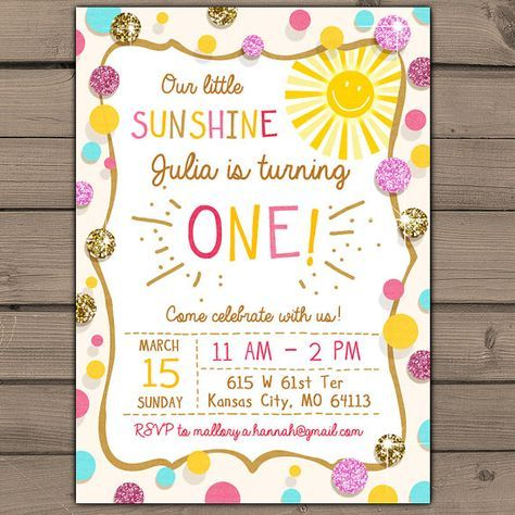 Sunshine Birthday Party Invite Sunshine by Anietillustration