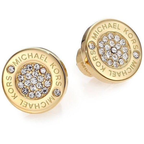 49c3610c9956 Michael Kors Heritage Plaque Pave Logo Stud Earrings Goldtone 78