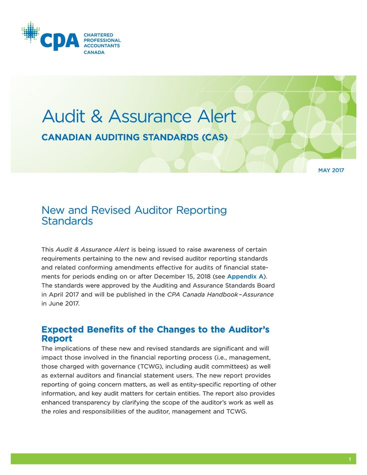 Audit & Assurance Alert: Canadian Auditing Standards (CAS) (Chartered Professional Accountants of Canada, 2017)