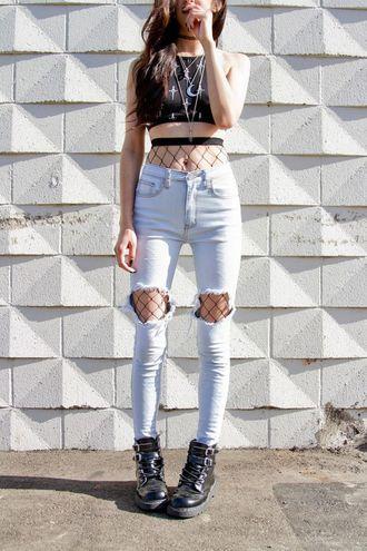 823ebe05dfdb9 jeans leggings fishnet tights crop tops black crop top tights ripped jeans  blue jeans tank top