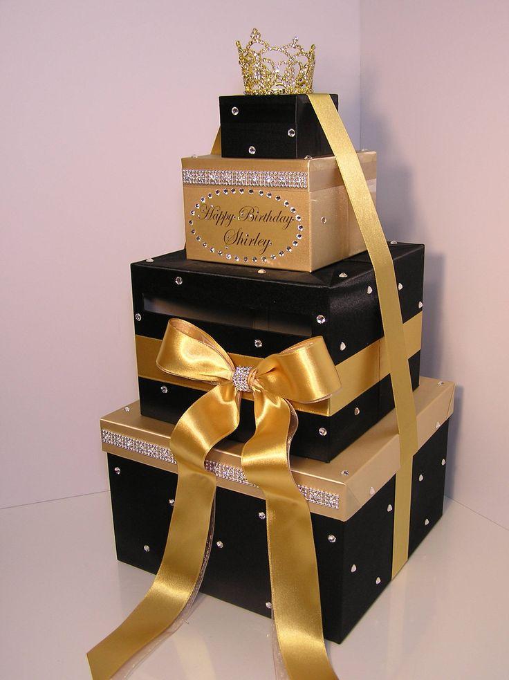 quinceañera  sweet 16  birthday wedding card box black