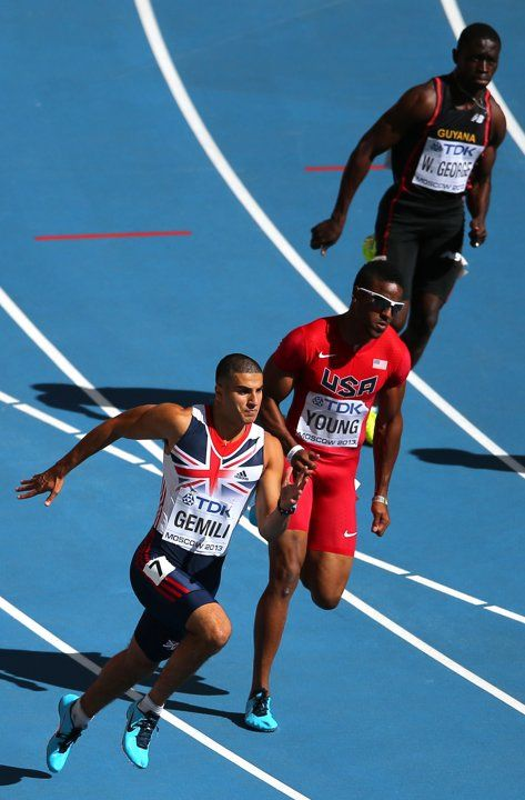 Great Britain's Adam Gemili (bottom) on the way to winning his 200 metre heat during day seven of the 2013 IAAF World Athletics Championships at the Luzhniki Stadium in Moscow, Russia.