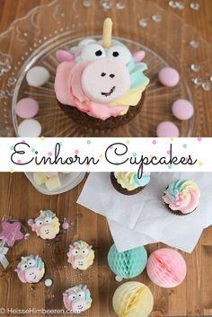Regenbogen Cupcakes im Einhorn Kostüm