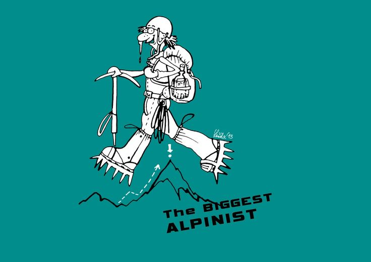 Alpinist ilustration as a T-shirt print