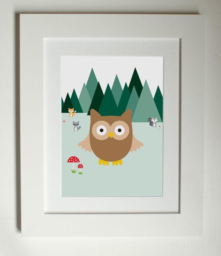 Lottie Coco - Woodland Friends - Owl - woodland animal print for children, kids room or nursery
