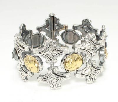 925 Ayar Gümüş Elizabeth Desenli Konstantinopol Tasarım Bileklik