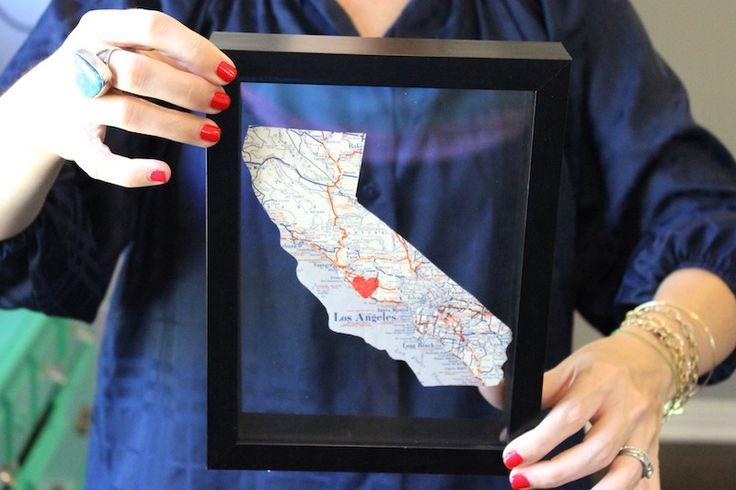 trace state outline onto old map, cut out, and put in floating frame - love it!