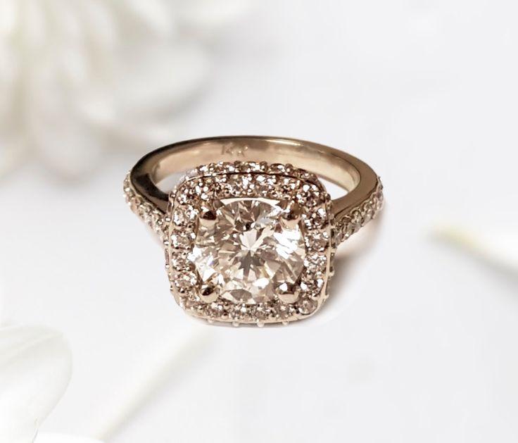 Linara Round Diamond Cushion Halo Pave Engagement Ring in 18k White Gold