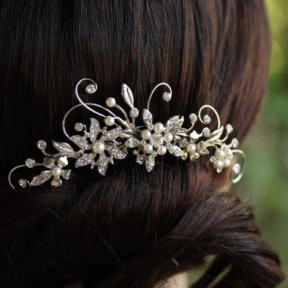 Wedding Hair Comb Rhinestone Flower Bridal Comb by LuluSplendor, $115.00