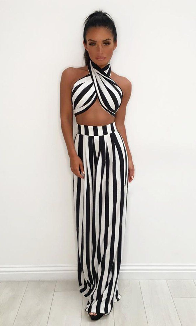a58669eaa5 Table For Two Black White Stripe Pattern Strapless Bow Crop Top High Waist  Loose Wide Leg Pants Two Piece Jumpsuit
