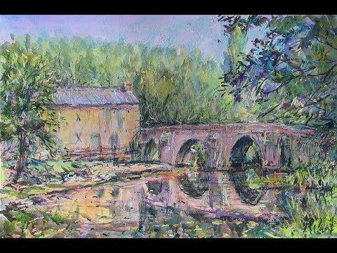 (6) Bessines sur Gartempe - Pastels over watercolour en plein air. - YouTube